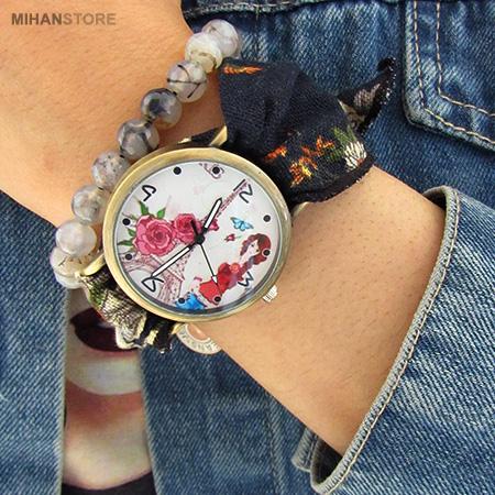 ساعت مچی دخترانه با بند پارچه ای
